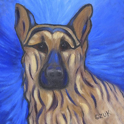 Art Print featuring the painting German Shepherd by Karen Zuk Rosenblatt