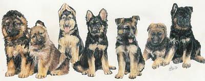 German Shepherd Puppies Art Print by Barbara Keith