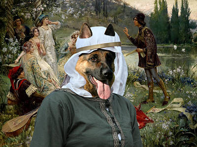 German Shepherds Canvas Print - Scene Of The Narration Of The Decameron Original by Sandra Sij