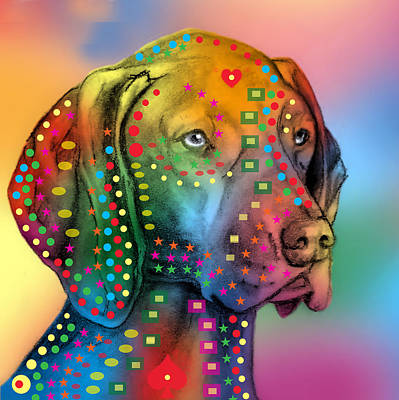 Abstract Wildlife Digital Art - German Shorthair Pointer by Mark Ashkenazi