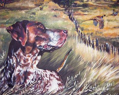 Puppy Painting - German Shorthaired Pointer And Pheasants by Lee Ann Shepard