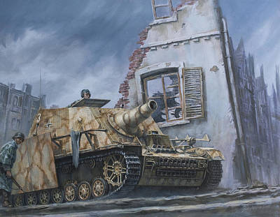 Wehrmacht Painting - German Sturmpanzer In Cisterna Italy 1944 by Philip Arena