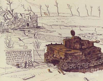 Fence Drawing - German Tank At Le Mesnil by David Neace