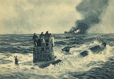 Survivor Art Photograph - German U-boat Attack, World War II by Science Photo Library