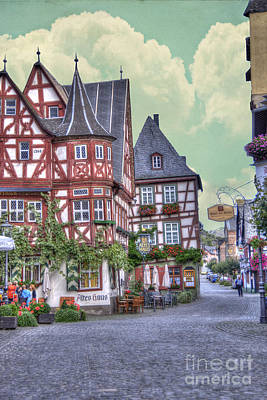 German Village Along Rhine River Art Print