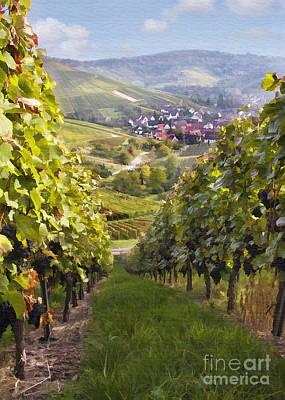 Grape Digital Art - German Vineyard by Sharon Foster