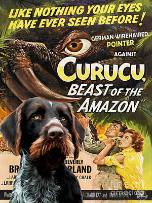Painting - German Wirehaired Pointer Art Canvas Print - Curucu Movie Poster by Sandra Sij
