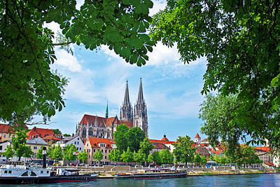 Steamboat Photograph - Germany , Regensburg, Old Town Skyline by Miva Stock