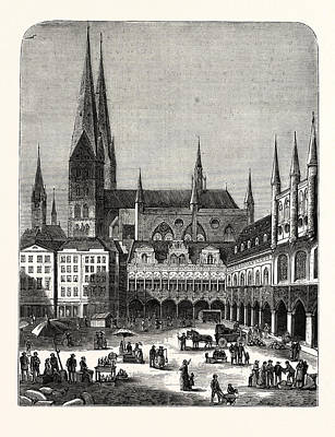 Lubeck Drawing - Germany A Scene In The Marketplace At Lubeck by German School