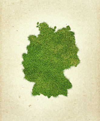 Germany Grass Map Art Print by Aged Pixel