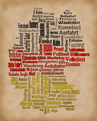 Shirley Digital Art - Germany Map by Shirley Radabaugh
