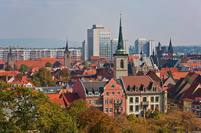Germany, Thuringia, Erfurt, View Of City Art Print by Westend61