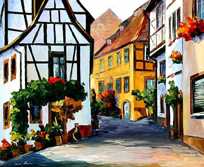Germany-town On The Hill - Palette Knife Oil Painting On Canvas By Leonid Afremov Original by Leonid Afremov
