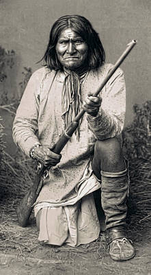 Gun Fighter Photograph - Geronimo - 1886 by Daniel Hagerman