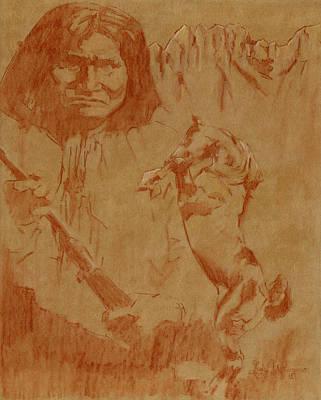 Apache Drawing - Geronimo by Luis  Navarro