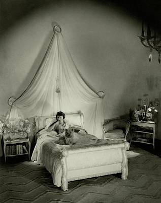 Black Curly Hair Photograph - Gertrude Lawrence In Bed by Cecil Beaton