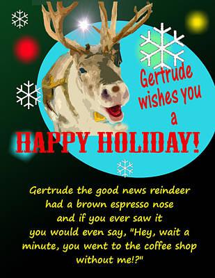 Hanukkah Digital Art - Gertrude The Good News Reindeer by Alpha Pup