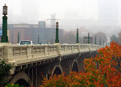 Photograph - Gervais Street Bridge In The Fog by Joseph C Hinson Photography
