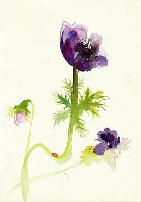 Mit Painting - Gesture Anemone Watercolor - Purple Blue Anemone Watercolor Painting by Tiberiu Soos