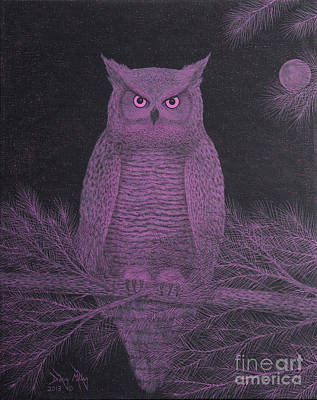 Get Pinked Great Horned Owl Art Print
