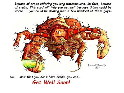 Painting - Get Well Crab Card by Michael Shone SR