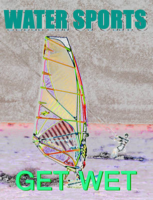 Wind Surfing Art Painting - Get Wet Water Sports by David Lee Thompson