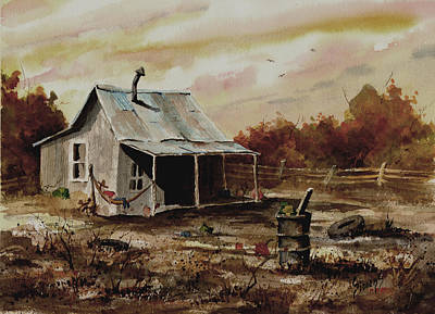 Shacks Painting - Gettin' The Yard Work Done by Sam Sidders