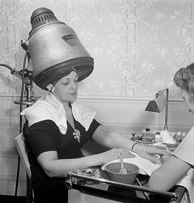 Photograph - Getting A Manicure While Drying Hair by Historic Photos