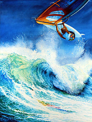 Surfing Art Painting - Getting Air by Hanne Lore Koehler