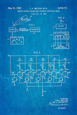 Getting Global Positioning System Gps Patent Art 1955 Blueprint Print by Ian Monk