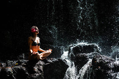 Photograph - Getting In Touch With Whole Universe. Anna At Eureka Waterfalls. Mauritius by Jenny Rainbow