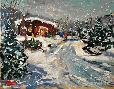 Getting The Christmas Tree Original by Russ Potak