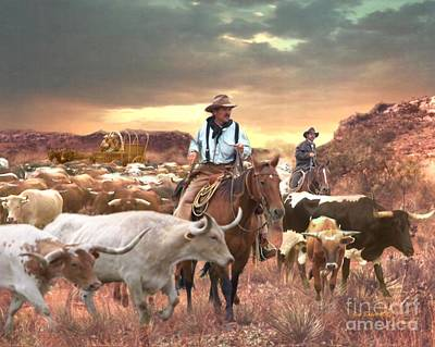 Working Cowboy Digital Art - Getting Up The Herd by Jim Baker