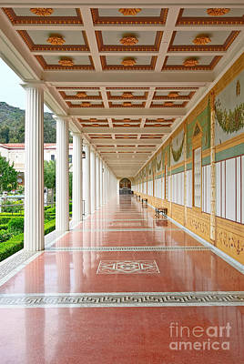 Getty Photograph - Getty Villa - Covered Walkway by Jamie Pham