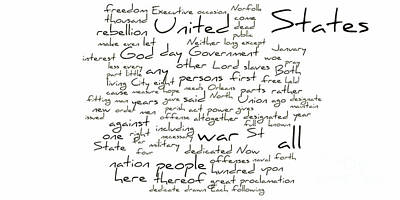 Gettysburg Address-emancipation Proclamation-second Inaugural Address-word Cloud Art Print by David Bearden