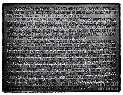 Gettysburg Address Photograph - Gettysburg Address by John Rizzuto