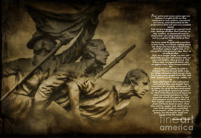 Gettysburg Address With North Carolina Monument Art Print by Randy Steele