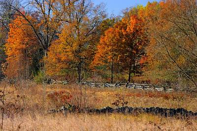 Gettysburg At Rest - Autumn Looking Towards The J. Weikert Farm Print by Michael Mazaika