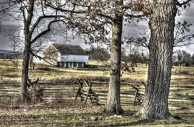 Art Print featuring the photograph Gettysburg At Rest - Winter Muted Edward Mc Pherson Farm by Michael Mazaika
