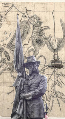 Little Round Top Digital Art - Gettysburg Battlefield General Crawford Statue by Randy Steele