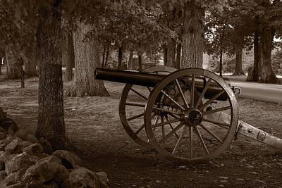 Gettysburg Photograph - Gettysburg Cannon B W by Steve Gadomski