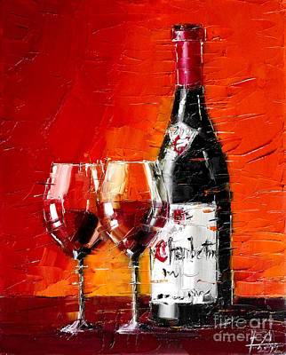 Bottle Painting - Still Life With Wine Bottle And Glass IIi by Mona Edulesco