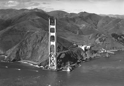 Ggb Tower Under Construction Art Print by Underwood Archives