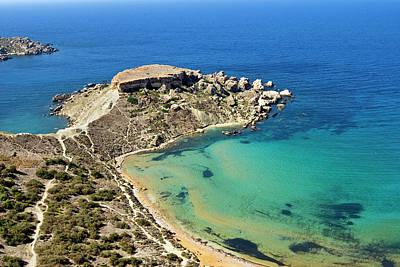 Maltese Photograph - Ghajn Tuffieha Bay, Aerial View, Malta by Nico Tondini
