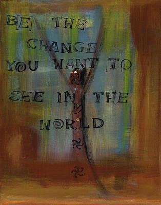 Yoga Pose Painting - Ghandi's Inspiration by Jessica Rosen