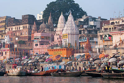 Ghats Along The Bank Of The Ganges Print by Keren Su