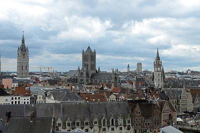 Rooftop Photograph - Ghent Rooftops by Steven Richman