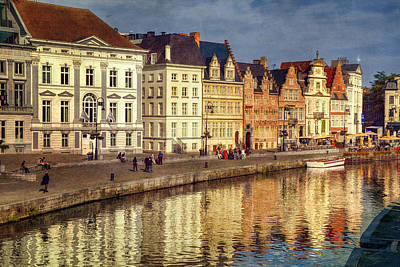 Landmarks Royalty Free Images - Ghent Waterfront Royalty-Free Image by Joan Carroll