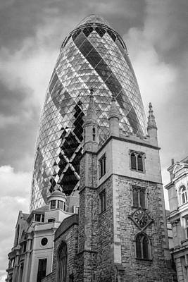 Photograph - Gherkin And St Andrew Undershaft Black And White Version by Gary Eason