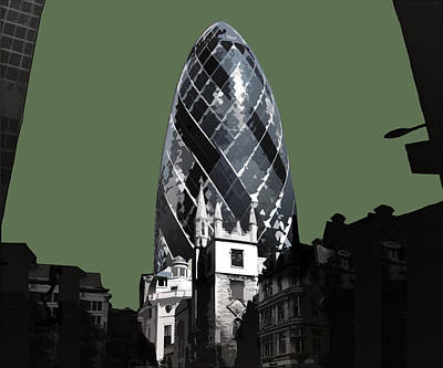 Cities Mixed Media - Gherkin - Olive Green by Big Fat Arts